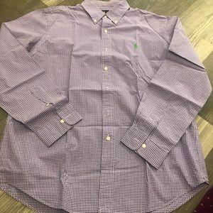 Ralph Lauren Purple White Gingham Button Down